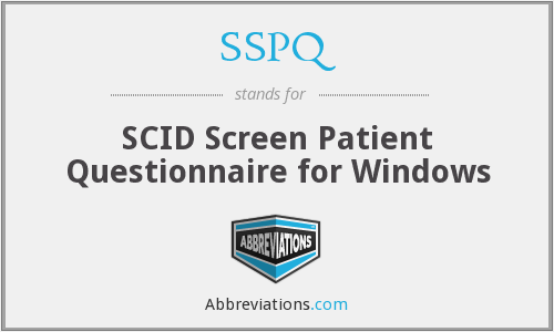 SSPQ - SCID Screen Patient Questionnaire for Windows