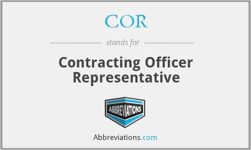 COR - Contracting Officer Representative