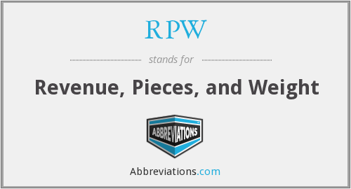 RPW - Revenue, Pieces, and Weight