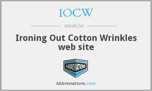 IOCW - Ironing Out Cotton Wrinkles web site