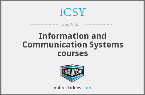 ICSY - Information and Communication Systems courses