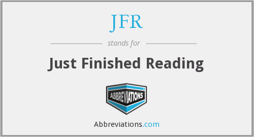 JFR - Just Finished Reading