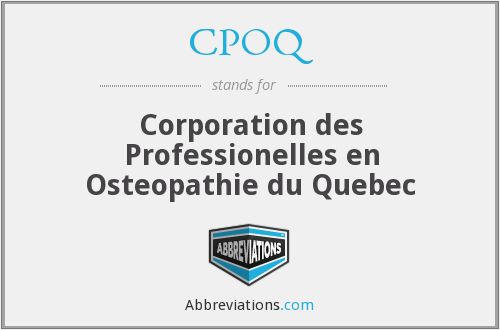 CPOQ - Corporation des Professionelles en Osteopathie du Quebec