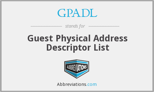 GPADL - Guest Physical Address Descriptor List