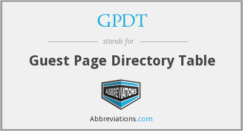 GPDT - Guest Page Directory Table