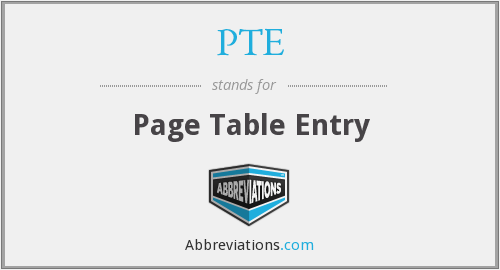 PTE - Page Table Entry
