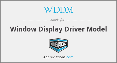 WDDM - Window Display Driver Model