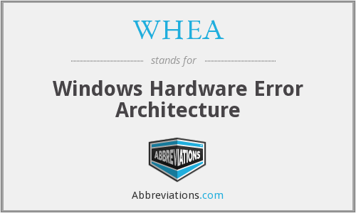 WHEA - Windows Hardware Error Architecture
