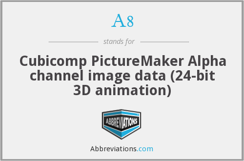 A8 - Alpha channel image data (24-bit 3D animation) ( Cubicomp PictureMaker)