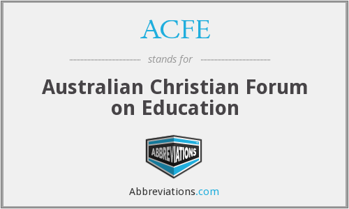 ACFE - Australian Christian Forum on Education