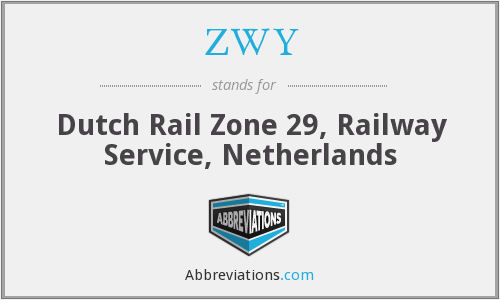 ZWY - Dutch Rail Zone 29, Railway Service, Netherlands