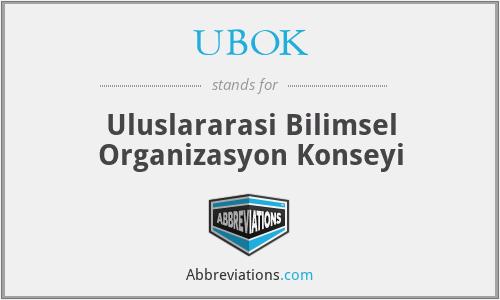 UBOK - Uluslararasi Bilimsel Organizasyon Konseyi