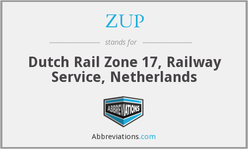 ZUP - Dutch Rail Zone 17, Railway Service, Netherlands