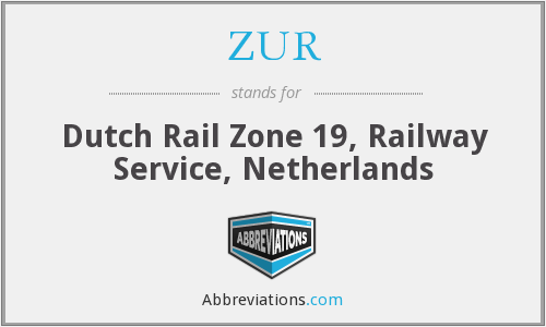 ZUR - Dutch Rail Zone 19, Railway Service, Netherlands