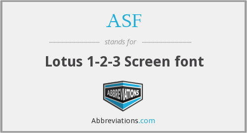 ASF - Lotus 1-2-3 Screen font