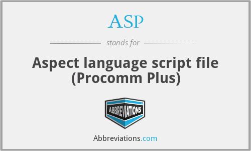 ASP - Aspect language script file (Procomm Plus)