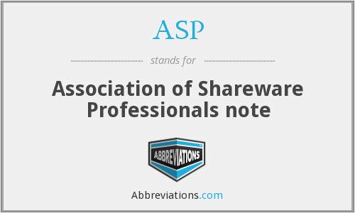 ASP - Association of Shareware Professionals note