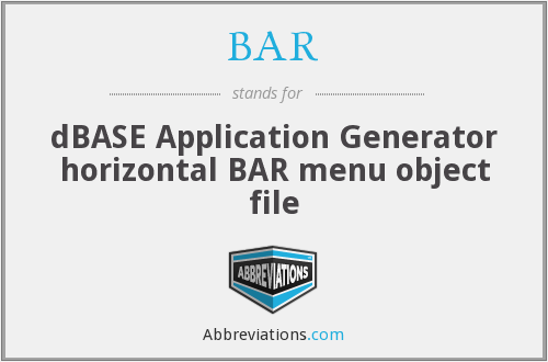 BAR - dBASE Application Generator horizontal BAR menu object file