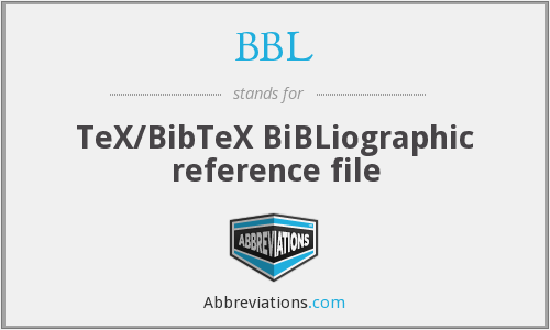 BBL - TeX/BibTeX BiBLiographic reference file