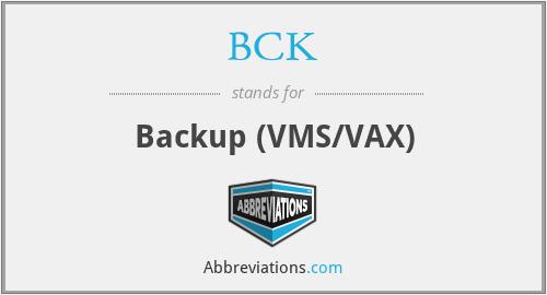 BCK - Backup (VMS/VAX)