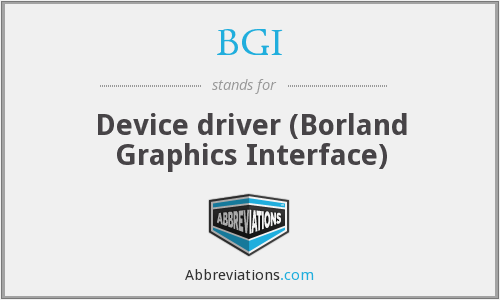 BGI - Device driver (Borland Graphics Interface)