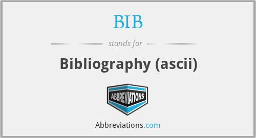 BIB - Bibliography (ascii)