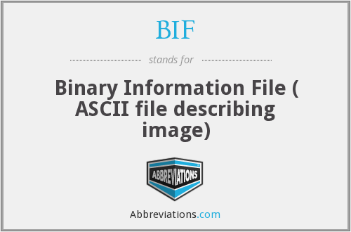 BIF - Binary Information File ( ASCII file describing image)