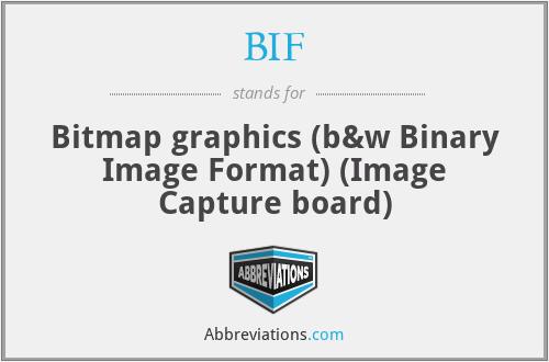 BIF - Bitmap graphics (b&w Binary Image Format) (Image Capture board)