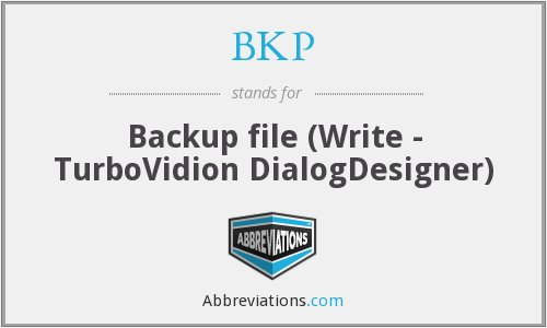 BKP - Backup file (Write - TurboVidion DialogDesigner)