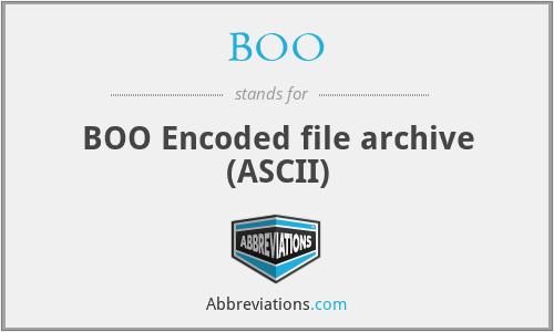 BOO - BOO Encoded file archive (ASCII)