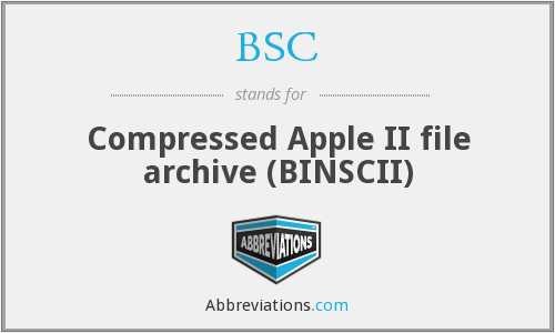 BSC - Compressed Apple II file archive (BINSCII)