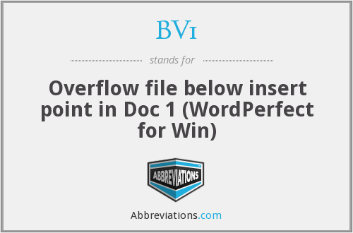 BV1 - Overflow file below insert point in Doc 1 (WordPerfect for Win)