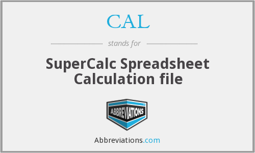 CAL - SuperCalc Spreadsheet Calculation file