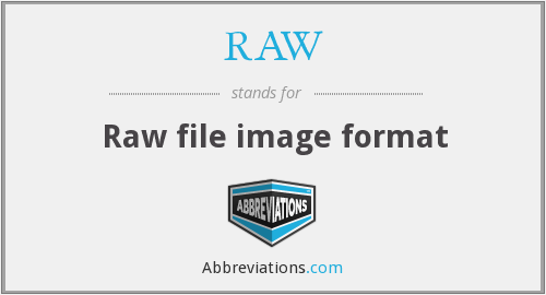 RAW - Raw file image format