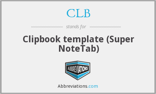 CLB - Clipbook template (Super NoteTab)