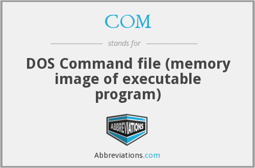 COM - DOS Command file (memory image of executable program)