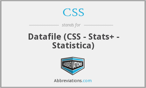 CSS - Datafile (CSS - Stats+ - Statistica)
