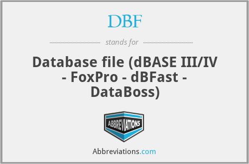 DBF - Database file (dBASE III/IV - FoxPro - dBFast - DataBoss)