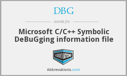 DBG - Microsoft C/C++ Symbolic DeBuGging information file