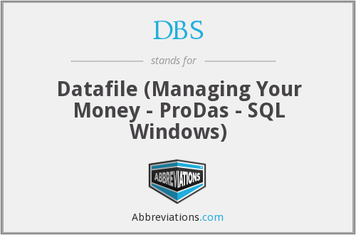 DBS - Datafile (Managing Your Money - ProDas - SQL Windows)