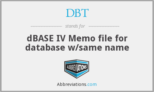 DBT - dBASE IV Memo file for database w/same name