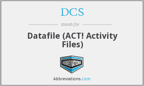 DCS - Datafile (ACT! Activity Files)