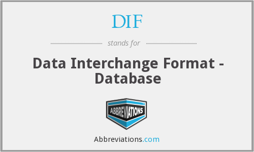 DIF - Data Interchange Format - Database