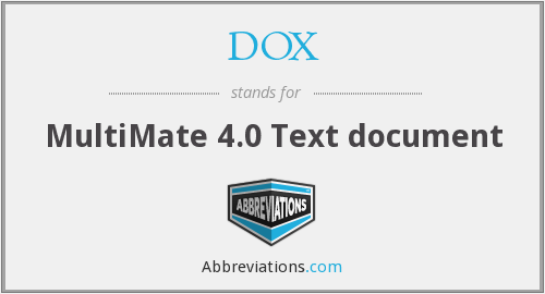 DOX - MultiMate 4.0 Text document