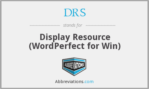 DRS - Display Resource (WordPerfect for Win)
