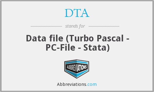 DTA - Data file (Turbo Pascal - PC-File - Stata)