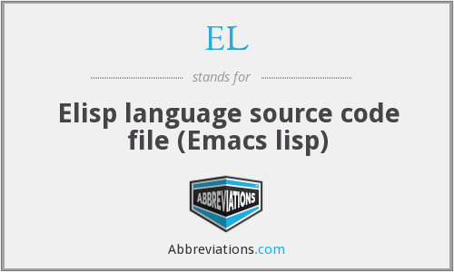EL - Elisp language source code file (Emacs lisp)