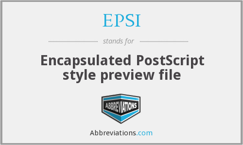 EPSI - Encapsulated PostScript style preview file