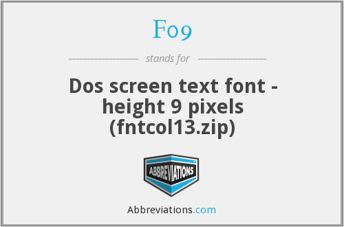 F09 - Dos screen text font - height 9 pixels (fntcol13.zip)