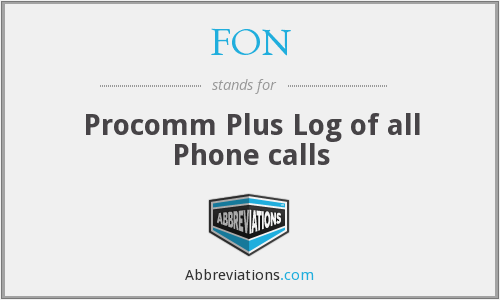 FON - Procomm Plus Log of all Phone calls